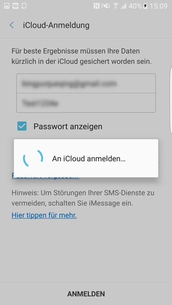 iCloud in Samsung Smart Switch Mobile anmelden