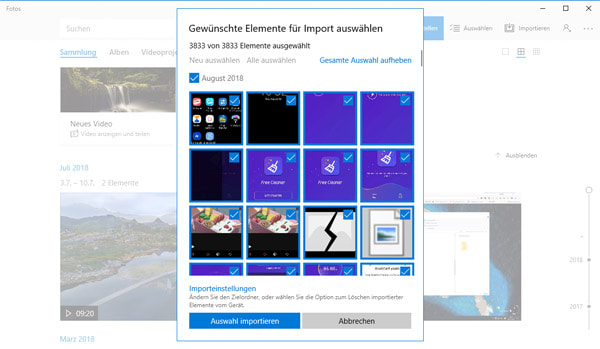 Samsung Bilder sichern mit Windows 10 Fotos-App