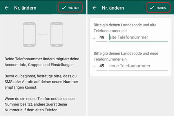 Wie kann man WhatsApp Nummer ändern