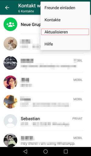 Android whatsapp kontakte aktualisieren Anleitung zur