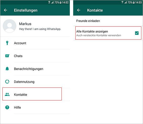 WhatsApp Kontakte sichtbar machen