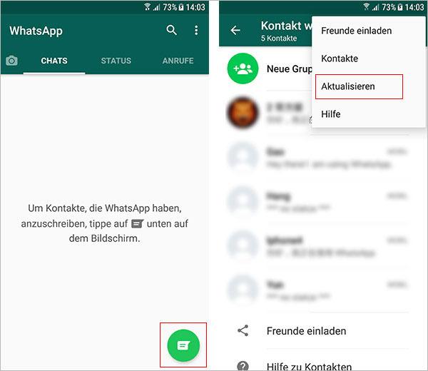 WhatsApp Kontakte aktualisieren