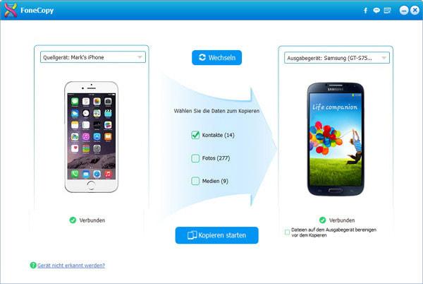 kontakte von android auf iphone