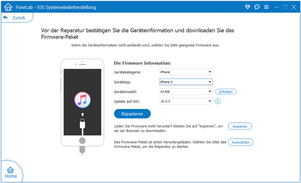 iPhone Informationen festlegen