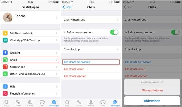 whatsapp archivierte chats rückgängig machen