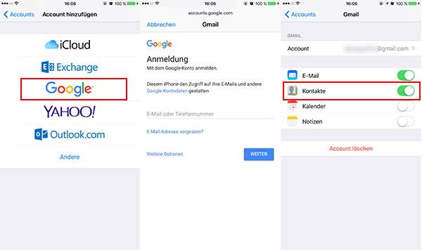 Kontakte von google konto auf smartphone übertragen