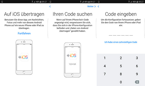 Move to iOS auf Android aktivieren