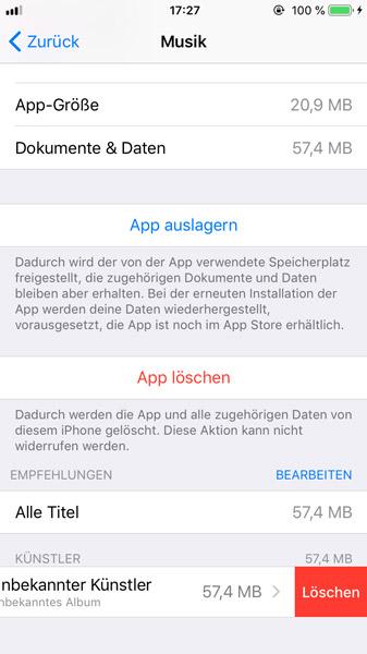Hapus musik dari iPhone di Pengaturan