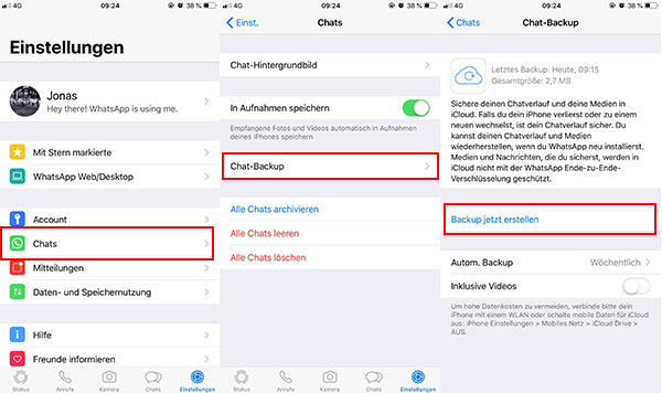how to get icloud backup of whatsapp