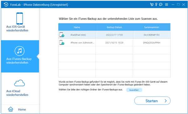 Gesperrtes iPhone mithilfe iTunes-Backup sichern