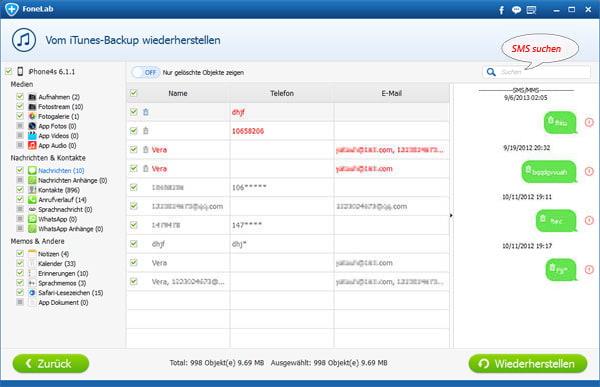 Teil 1: Android-SMS mit Android Datenbackup & Wiederherstellung sichern