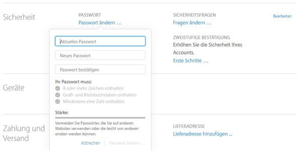 wie kann man sein passwort ändern