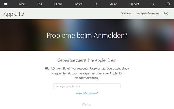 apple kennwort zurücksetzten