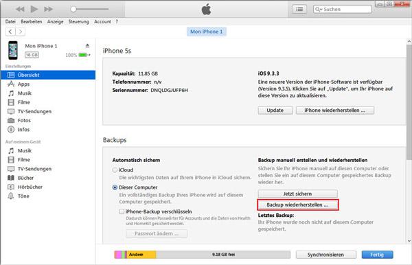 Kembalikan kontak iPhone dengan iTunes