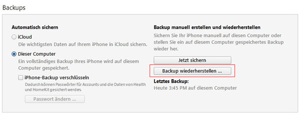 iTunes-Backup wiederherstellen