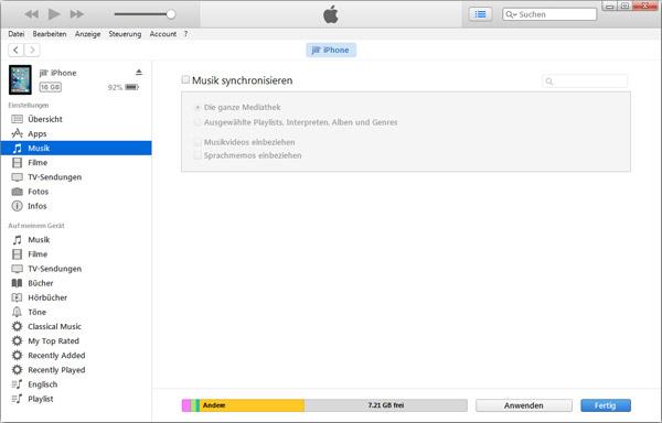 Hapus musik dari iPhone dengan iTunes