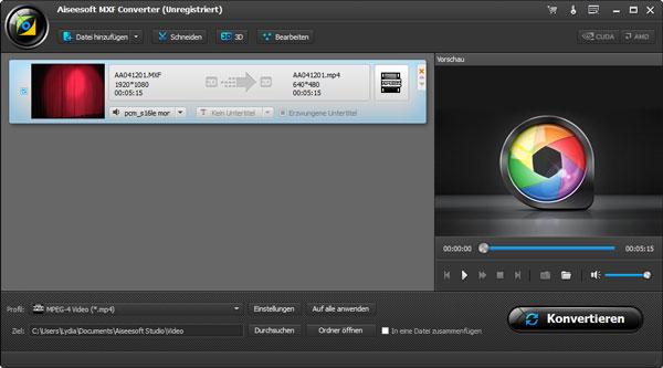 MXF Video ins Programm laden