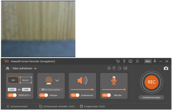 Webcam für das Aufnehmen aktivieren