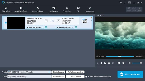 Mit Video Converter Ultimate M2TS-Datei konvertieren