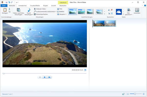 Mit Windows Movie Maker DJI Video bearbeiten