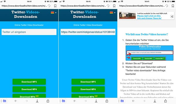 Twitter Video Downloader auf iPhone öffnen