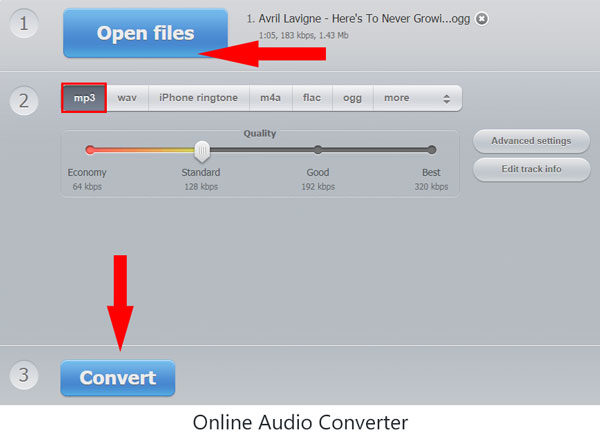 Auf Online Audio Converter OGG in MP3 umwandeln
