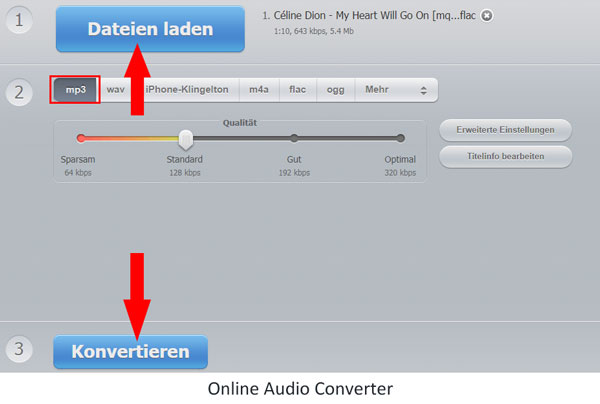 Mit Online Audio Converter FLAC in MP3 umwandeln