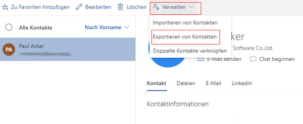 Outlook Kontakte exportieren